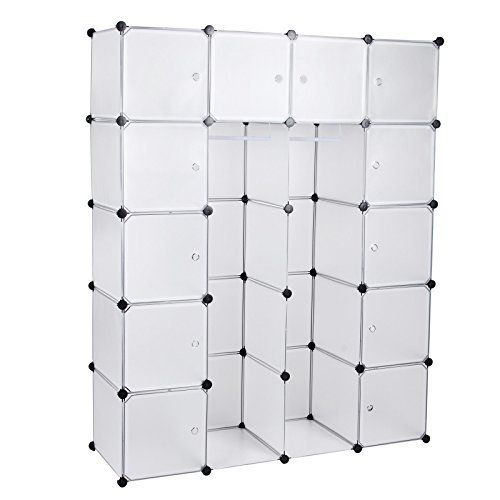 songmics diy armoire penderie cubes tag re de rangement modulables plastiques cadre en m tal. Black Bedroom Furniture Sets. Home Design Ideas