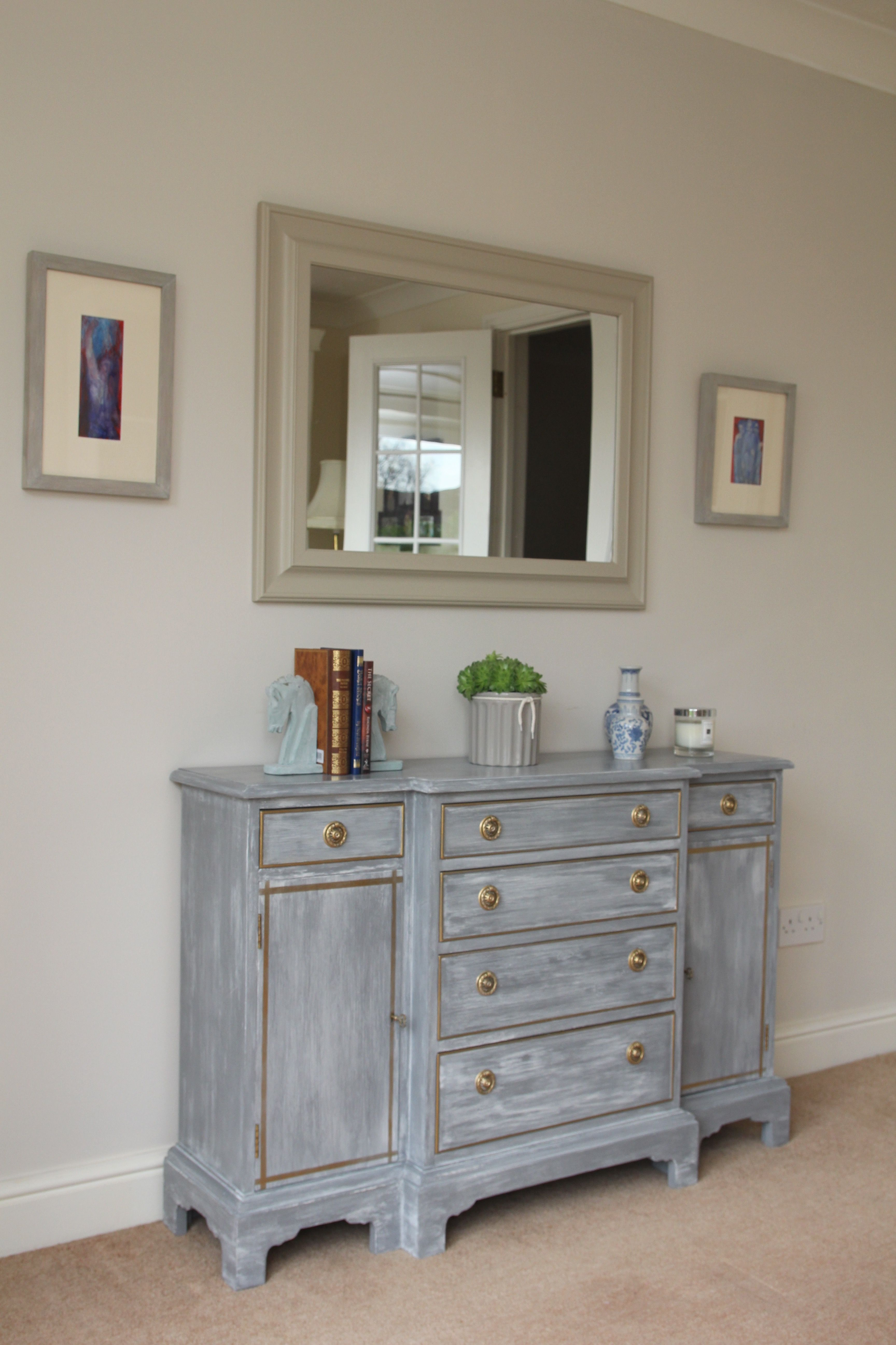 Dresser Painted With Chalk Paint Chalky White Over Anthracite Then Rub N Buff For Trim And Handles