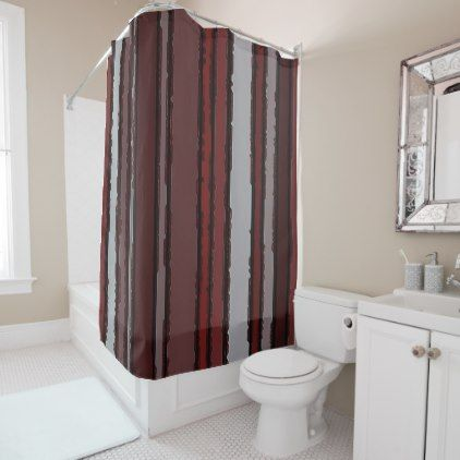 Burgundy Red Gray Mauve Taupe Stripes Pattern Shower Curtain