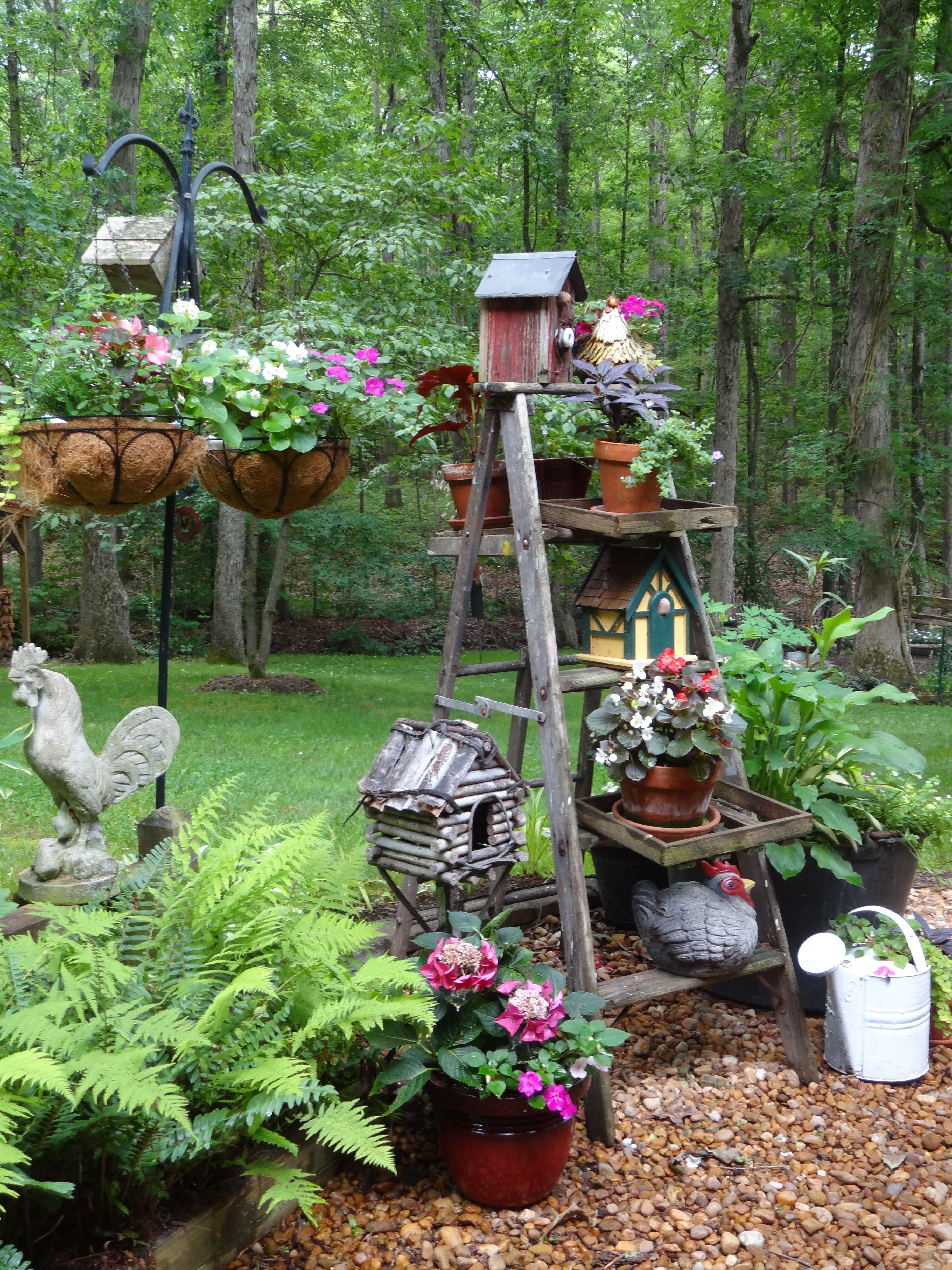 An old ladder serves a useful purpose in the yard.  Diy garden