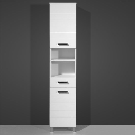 Elegance White Tall Bathroom Cabinet, 5729 84 £208.95 #bathroomcabinet  #furnitureinfashion