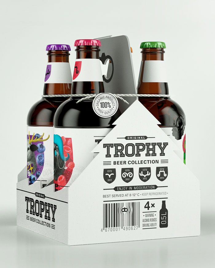 Creative and quirky labels design for Trophy Beer by student designers Galya Akhmetzyanova and Pavla Chuykina