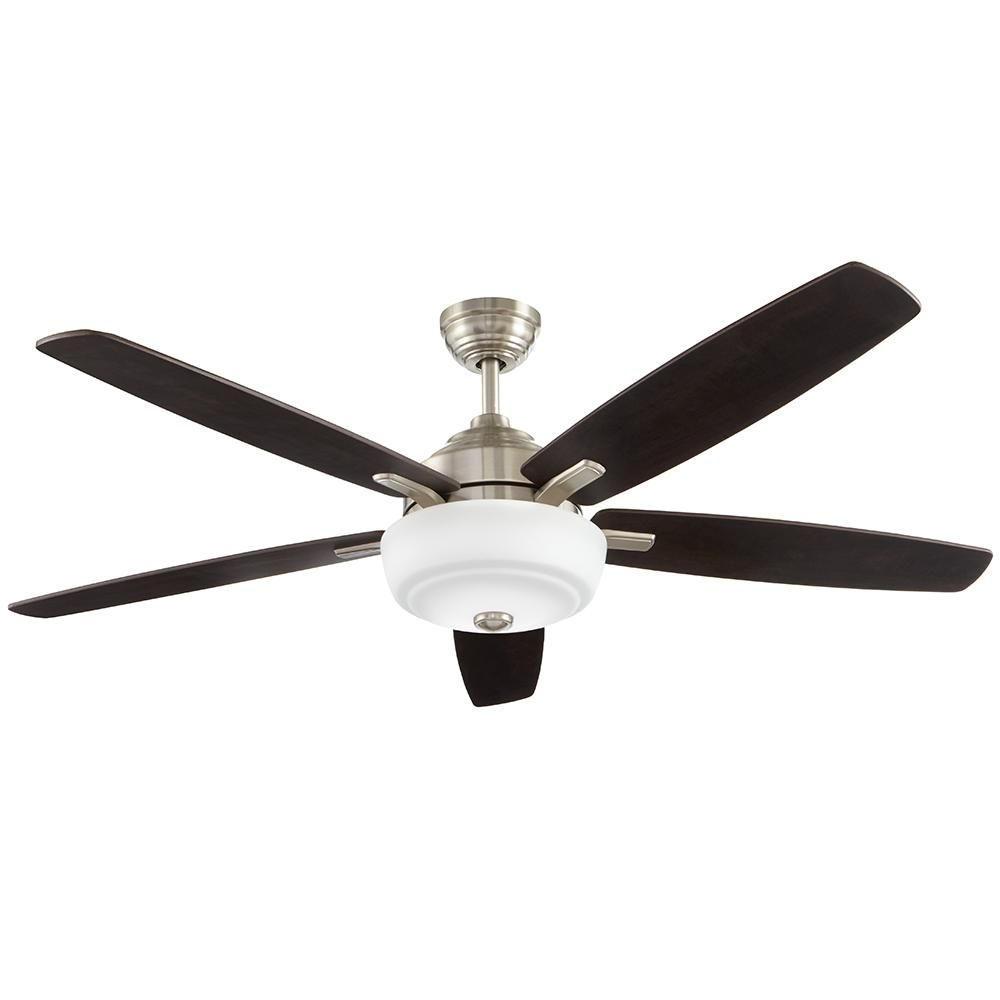 Home Decorators Collection Sudler Ridge 60 In Led Indoor Brushed Nickel Ceiling Fan With Light Kit And Remote Control 51714 Brushed Nickel Ceiling Fan Ceiling Fan