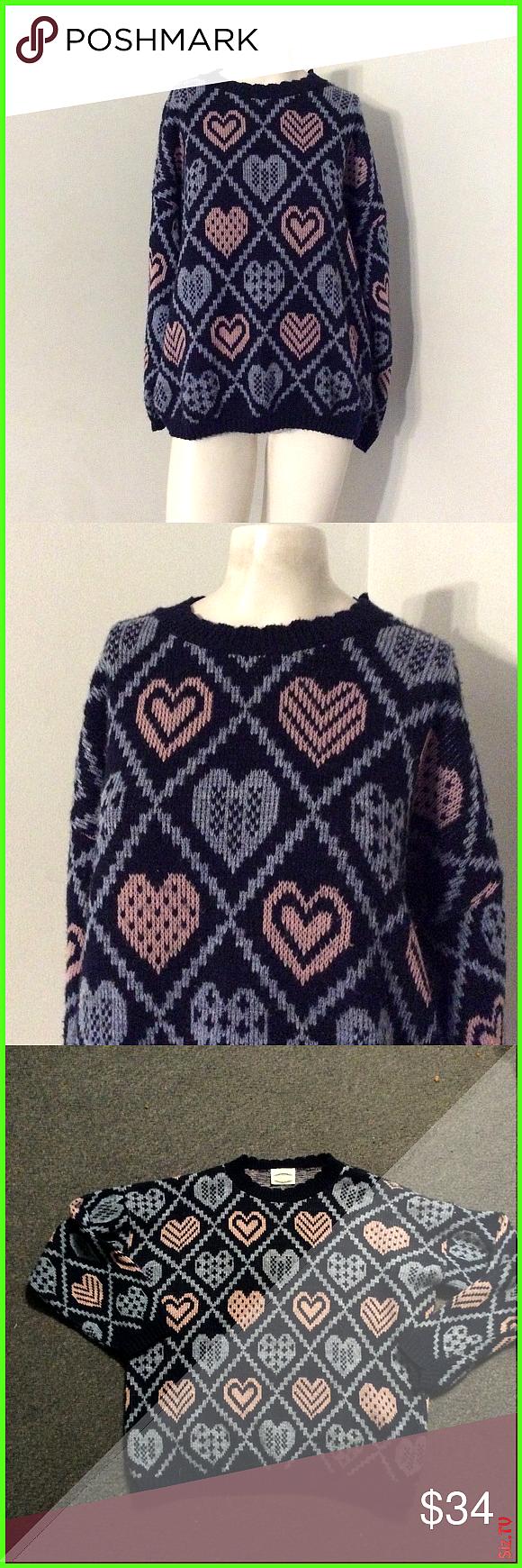 Vintage Kawaii Pastel Fairy Pink Heart Sweater Nice vintage 80s sweater Pastel pink and blue heart
