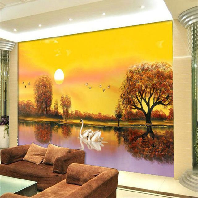 Custom Any Size Photo Wallpaper Pastoral Landscape Painting Wall Decorations Living Room Sofa Bedroom Mural