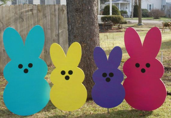 Giant Easter Bunny Peeps Outdoor Easter Decoration Painted Etsy Easter Decorations Outdoor Wood Yard Art Easter Yard Art