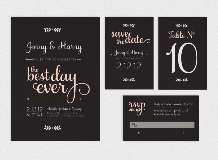 Printable Wedding Invitation Suite Best Day Ever 9500 via Etsy