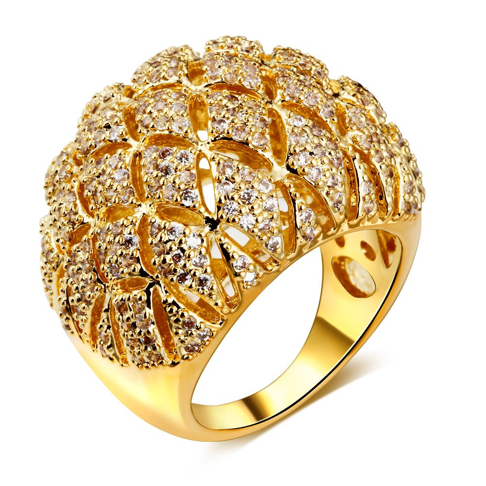 Beauty Women CZ Wedding Ring Brand New Pineapple Cut White Or Gold Color  Environmental Friendly Lead Free Bridal Jewelry