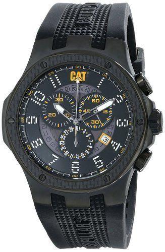 Caterpillar Mens Carbon Chrono Analog Watch Rubber Black