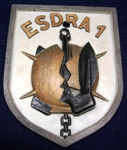 Ships Plaque for Italian Naval Minesweeper Esdra in Cast Metal
