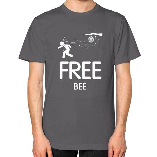 Free BEE Men's T-shirt, American Apparel T-shirt, funny tee, custom t shirt, bee t shirt, Inspirational tee (White icon)