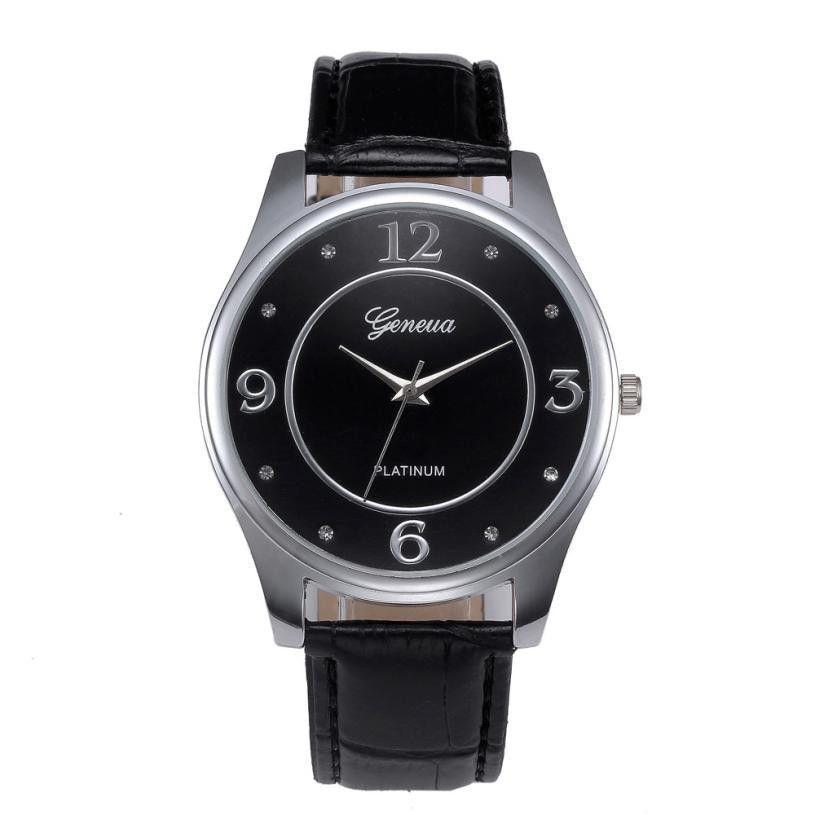 Brand New Men Leather Belt Watch Stainless Steel Dial Quartz Wrist Watch Business quartz-watch relogio masculino