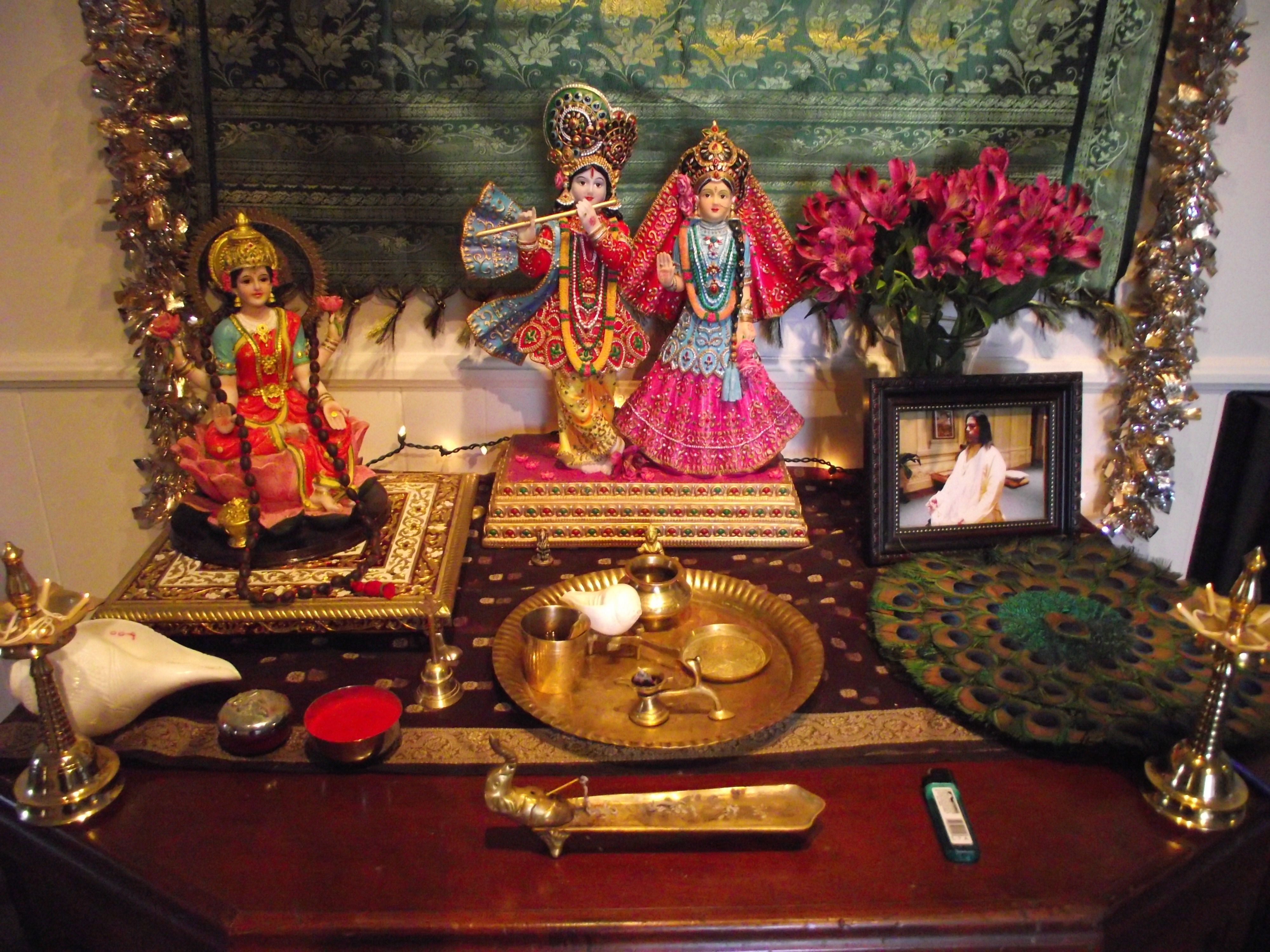 Lakshmi, Krishna, and Radha - Diwali altar | Sacred Spaces ... for Diwali Puja Decoration At Home  153tgx