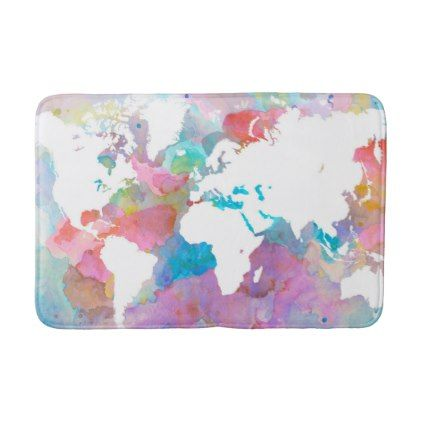 #Design 48 World Map Pink Blue Bath Mat   #Bathroom #Accessories #home