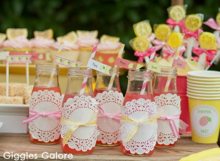 Giggles Galore: Pink Lemonade with doilies