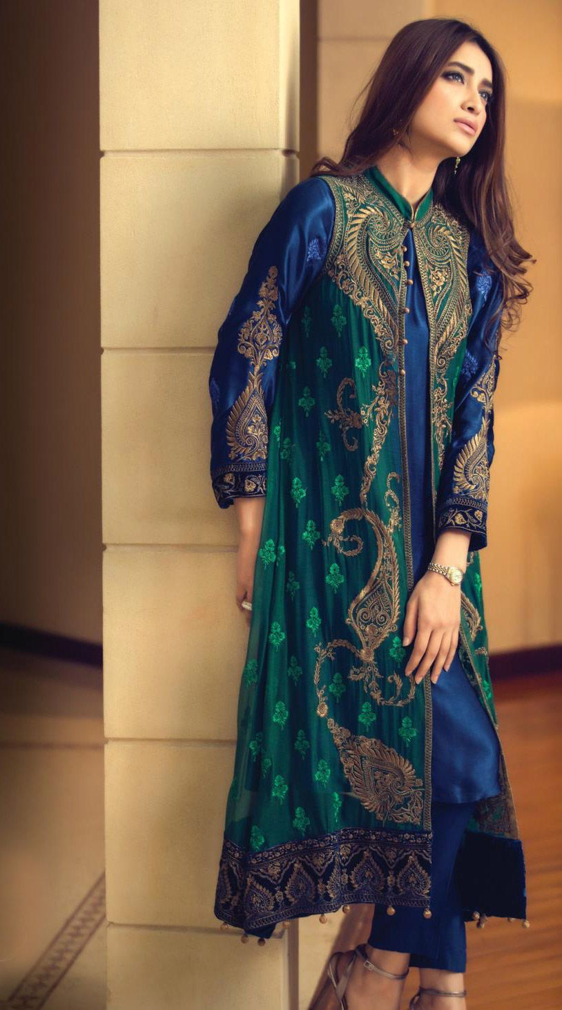 Buy NavyBlue/Green Embroidered Chinese Chiffon Gown Style Dress by ...