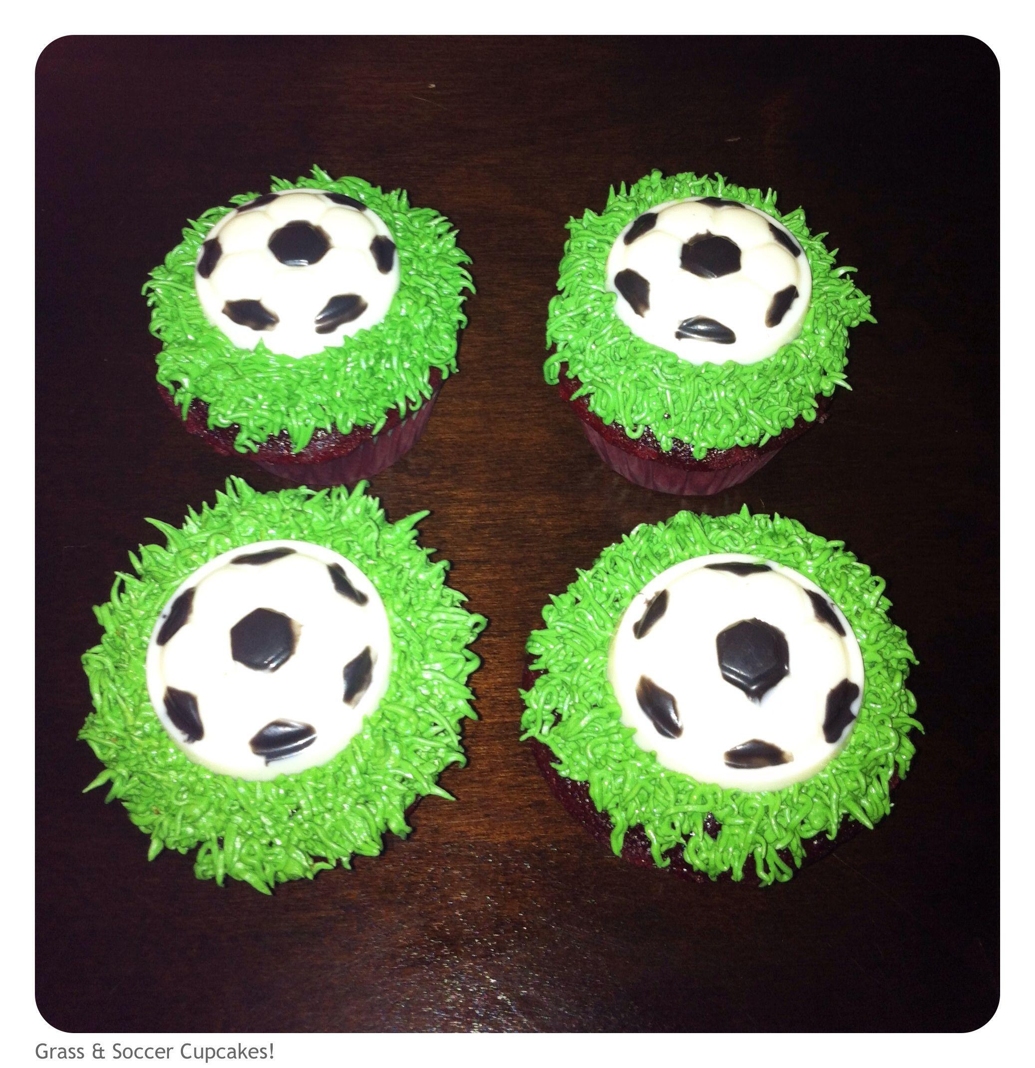 Soccer cupcakes ~ Soccer ball cupcakes ~ Soccer ball & grass cupcakes.  Cupcakes by: Bella Baby Cakes
