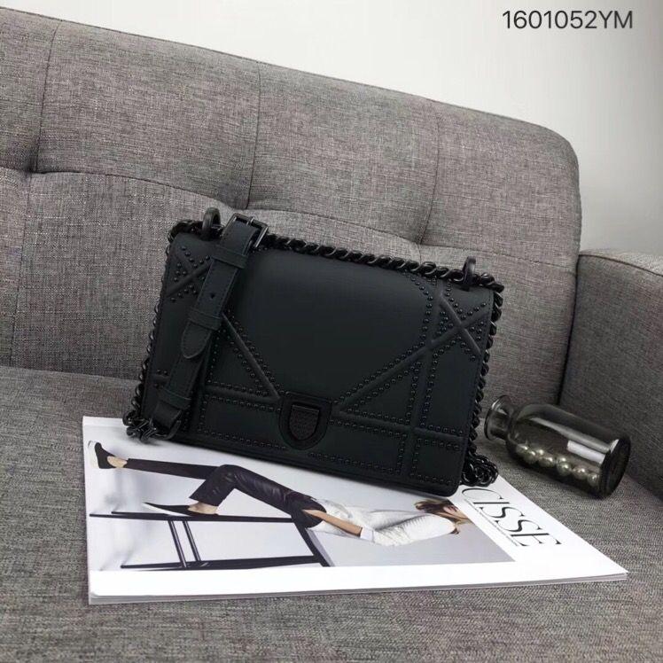 Christian Dior CD woman diorama chain flap bag full black hardware ... d4e38b0fe493