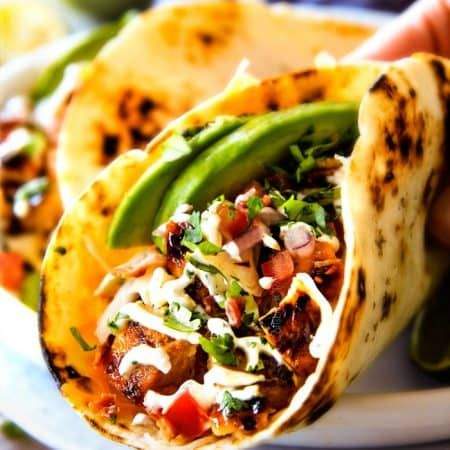 Honey Chipotle Chicken Tacos with BLT Slaw and Cilantro Lime Crema