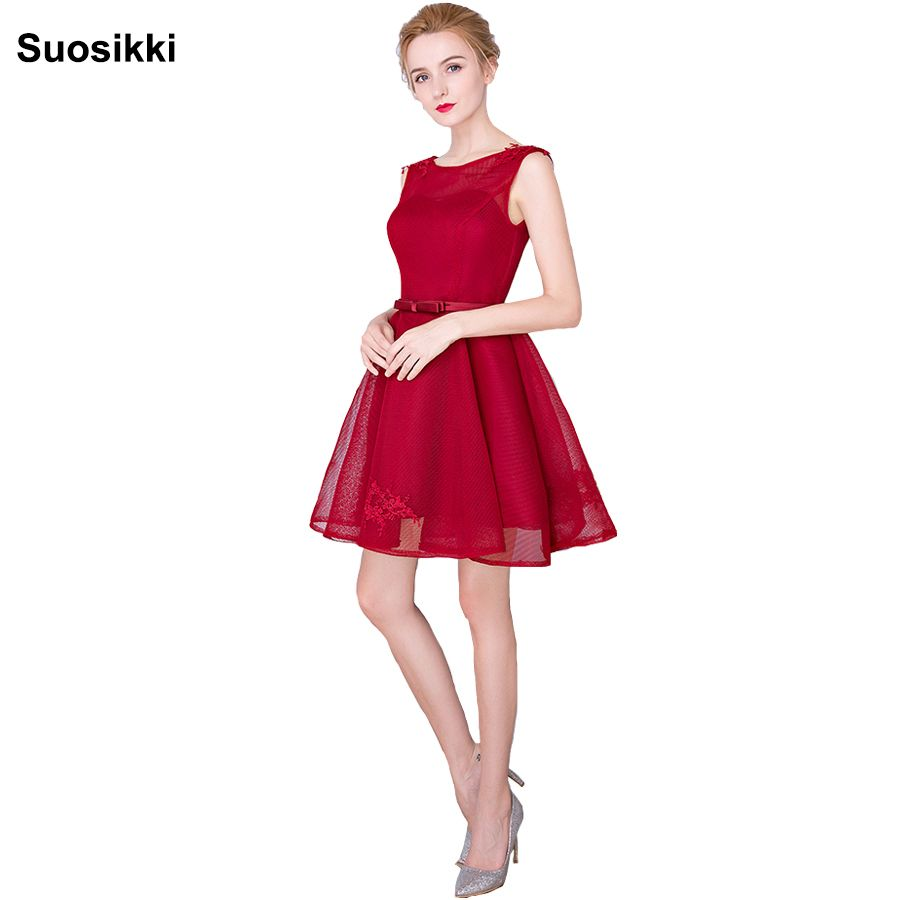 Click to buy ucuc new elegant o neck sexy red short short prom dresses