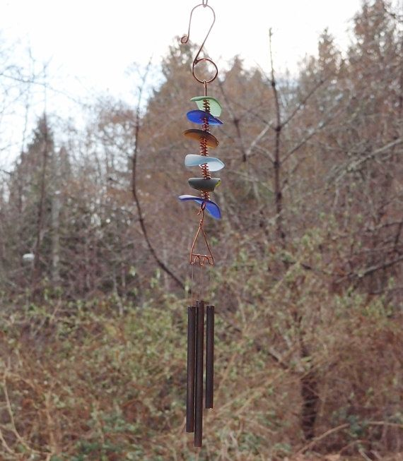 Glass and Copper Wind Chime Beach Glass Sea Glass by CoastChimes, $75.00