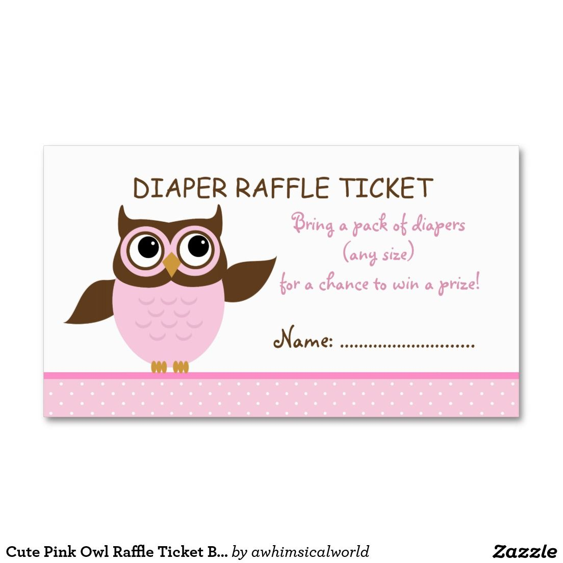 cute pink owl raffle ticket business card template pink cute pink owl raffle ticket business card template