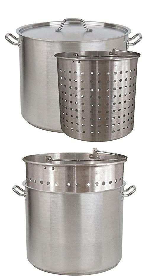 Tiger Chef Heavy Duty Stainless Steel Stock Pot With Cover And Aluminum Steamer Basket 100 Quart