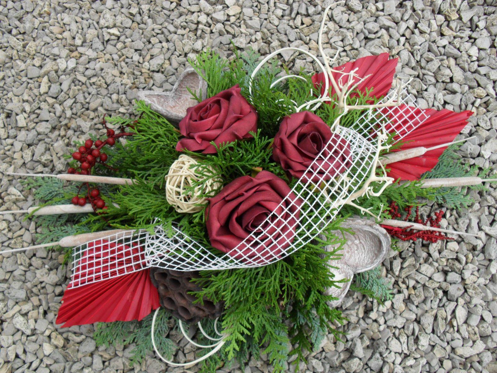 grabgesteck gesteck allerheiligen totensonntag grabschmuck gedenken rosen exoten for sale eur. Black Bedroom Furniture Sets. Home Design Ideas