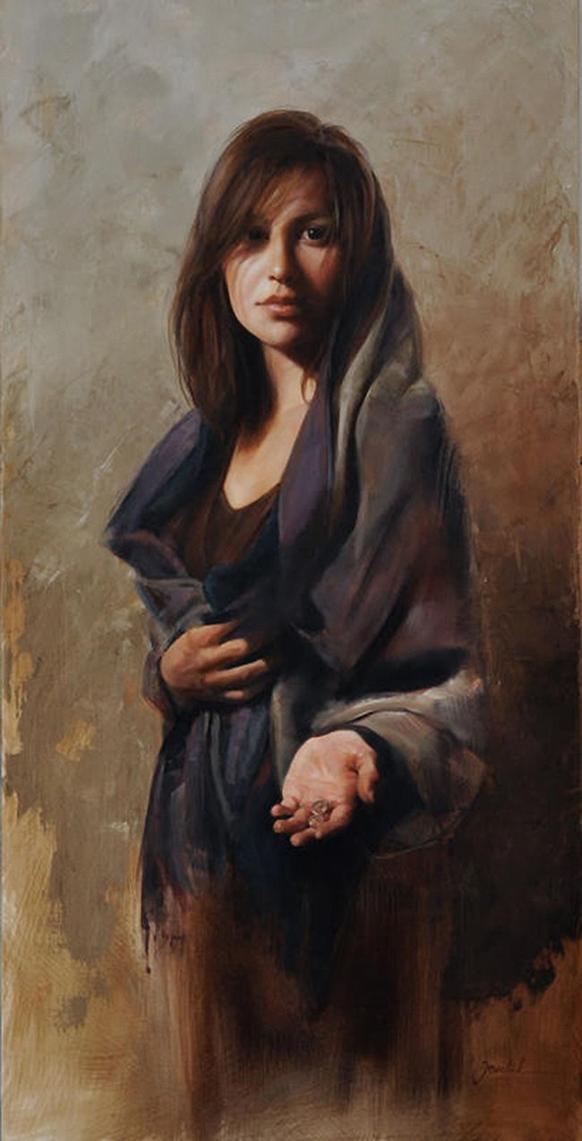 """Widow's Mite"""" - Cynthia Feustel, oil on linen {contemporary figurative art female torso standing wo… 