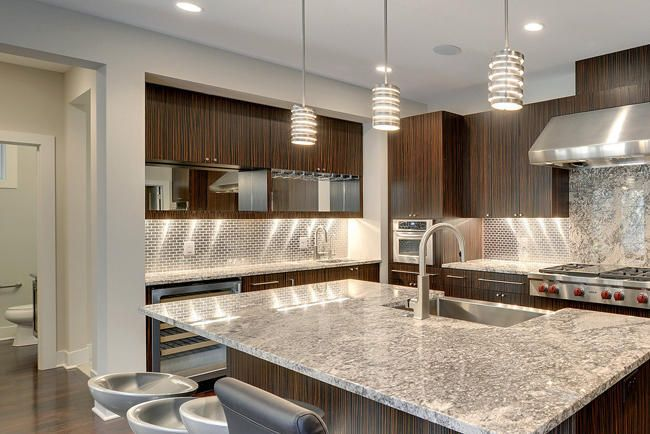 Modern Kitchen Design With Metallic Subway Tiles Backsplash This Fuses Clic And Futuristic