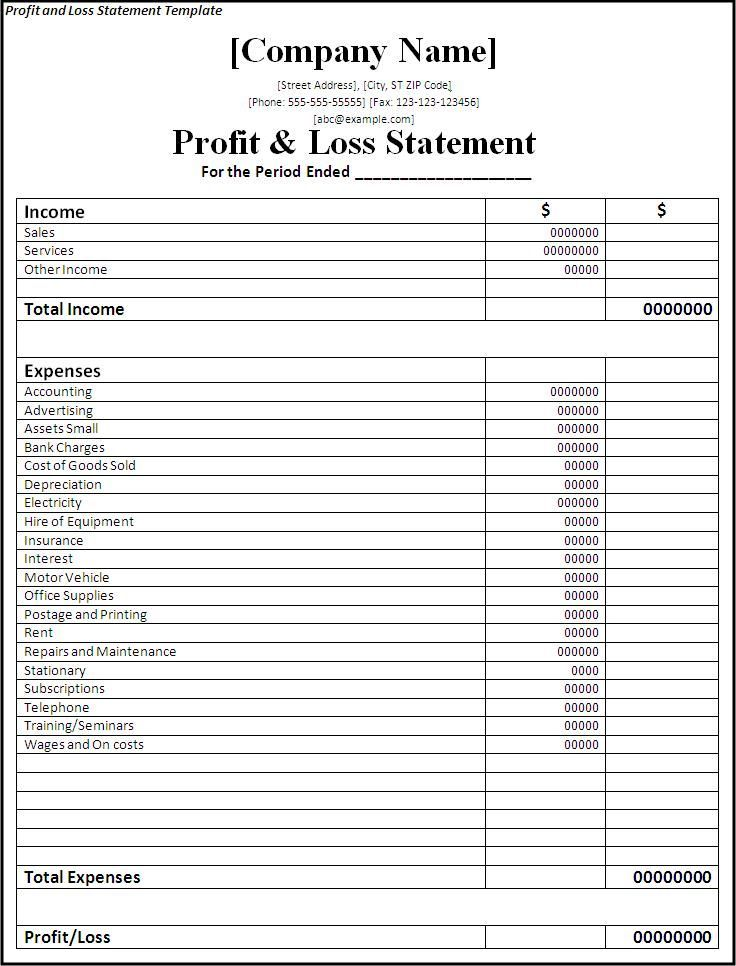49ae16be683693474d11d86e7232e5e1  Templates Free Bank Statement   Profit  And Loss Template Word  Income Statement Template Word