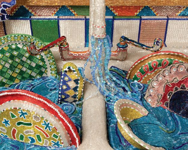 Detail shot of Liza Lou's Kitchen (1991–1996) created entirely out of glass beads