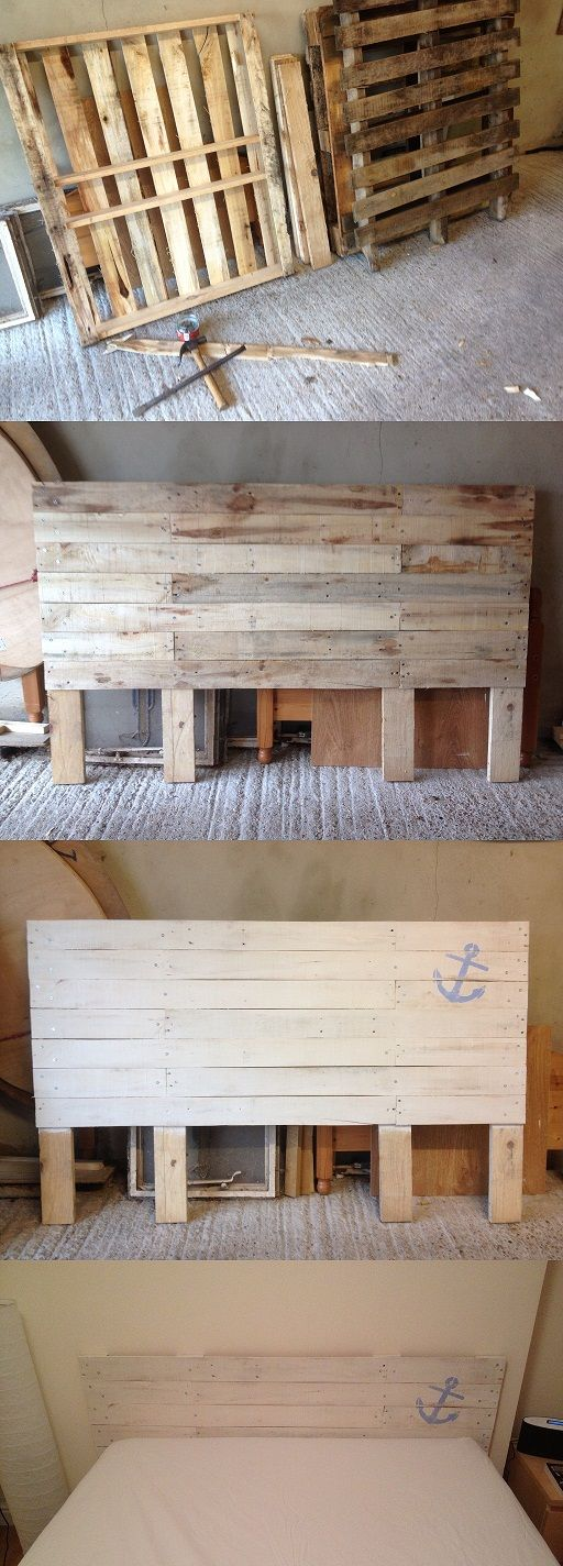 kopfteil f r bett aus europaletten selber bauen diy anleitung diy m bel bett aus. Black Bedroom Furniture Sets. Home Design Ideas