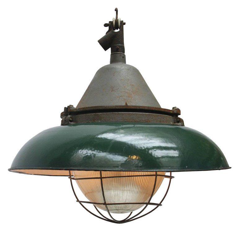 Green Enamel Cast Iron Vintage Industrial Holophane Glass Pendant Lights 2x Holophane Glass Pendant Green Enamel Glass Pendant Light
