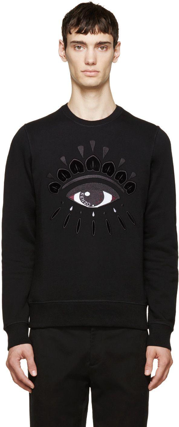 dd6e25b2ee9 Kenzo Black Embroidered Eye Sweatshirt | My RTW Style | Embroidered ...