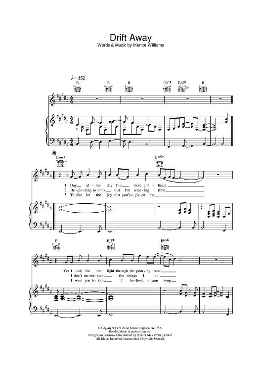 Drift Away Sheet Music By Dobie Gray Sheet Music Pianos And Music