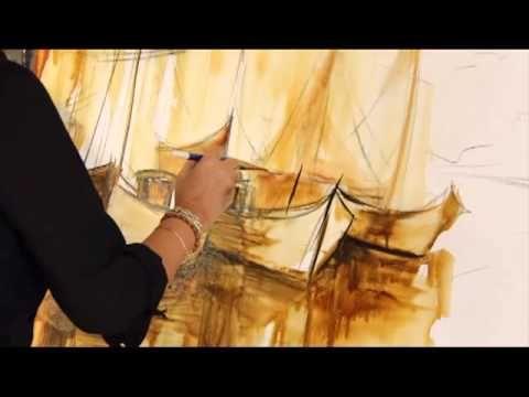Gabriela Mensaque Marina En Sepia Aguada Pinturas De Acrilico