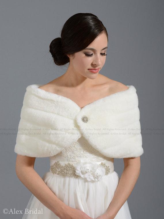 Off White Faux Fur Wrap Bridal Shrug Stole Shawl Fw001