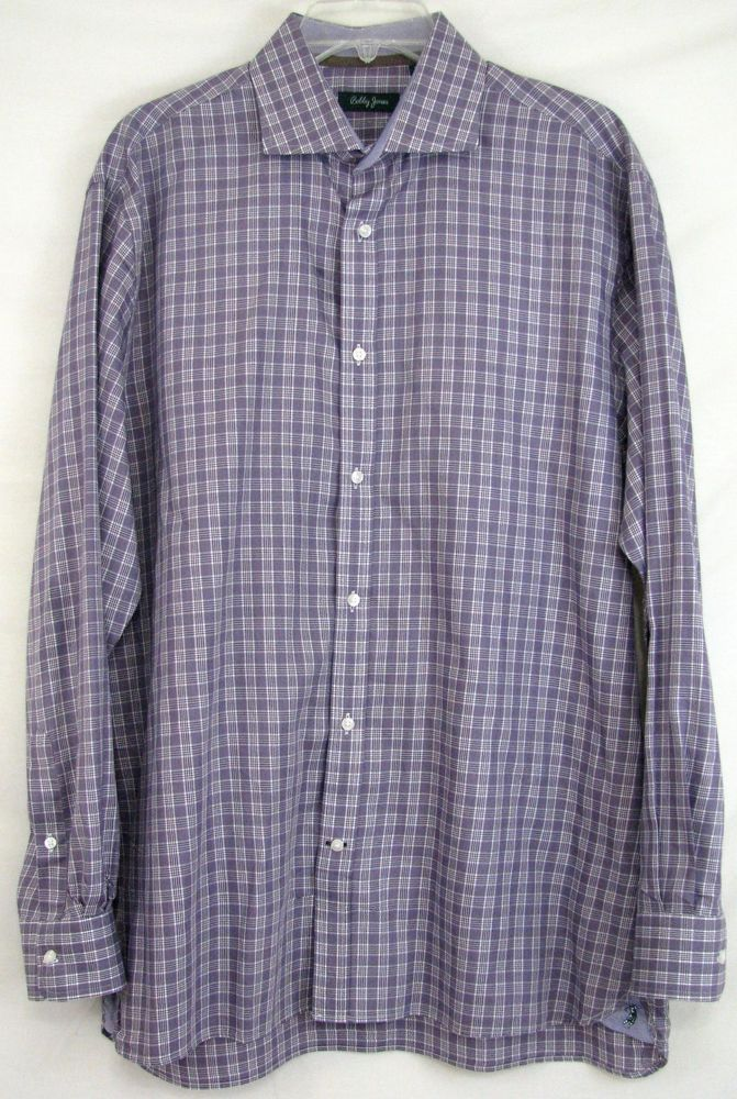 BOBBY JONES Shirt BUTTON Front PURPLE Checked COTTON Size L Men's