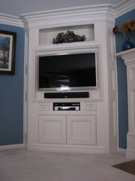 Corner Entertainment Center Like How Its Built Out Of The Wall - Built in cabinets entertainment center design pictures remodel