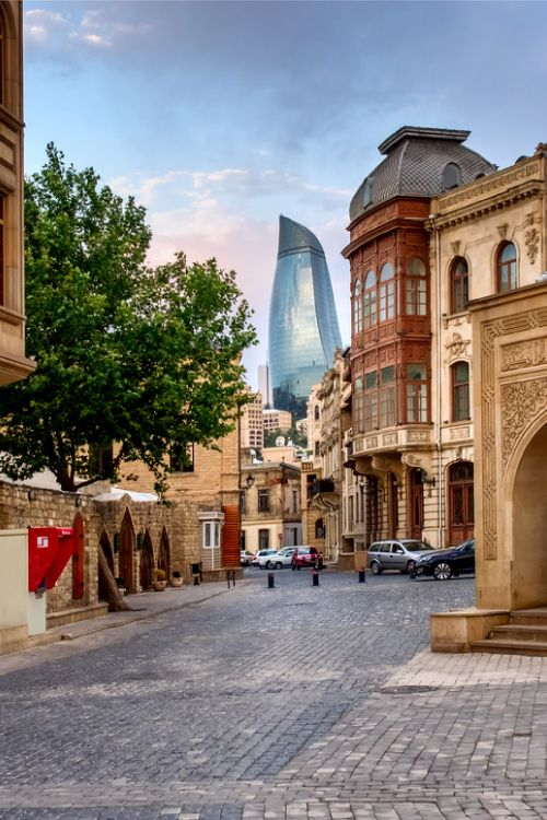 Found on the old silk road, Azerbaijan's capital Baku features both a stunning old city and ultra modern buildings #Baku