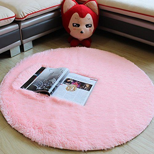 TideTex Modern Multicolored Simple Round Area Rug Fashion Pink Super Soft Cute  Bedroom Carpet Bedside Rugs