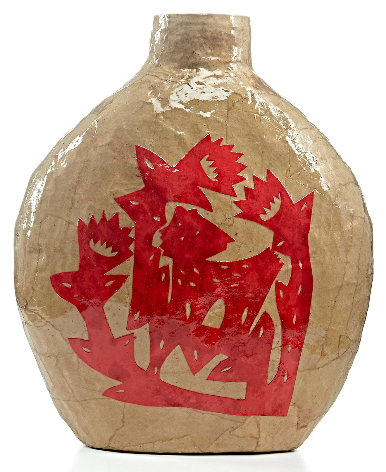 Heart of haiti brown papier mache vase with red stencil cutout heart of haiti brown papier mache vase with red stencil cutout collections for the reviewsmspy
