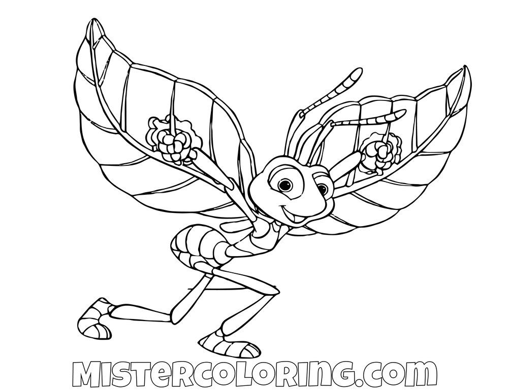 Flick Flying A Bugs Life Coloring Page For Kids Coloring Pages