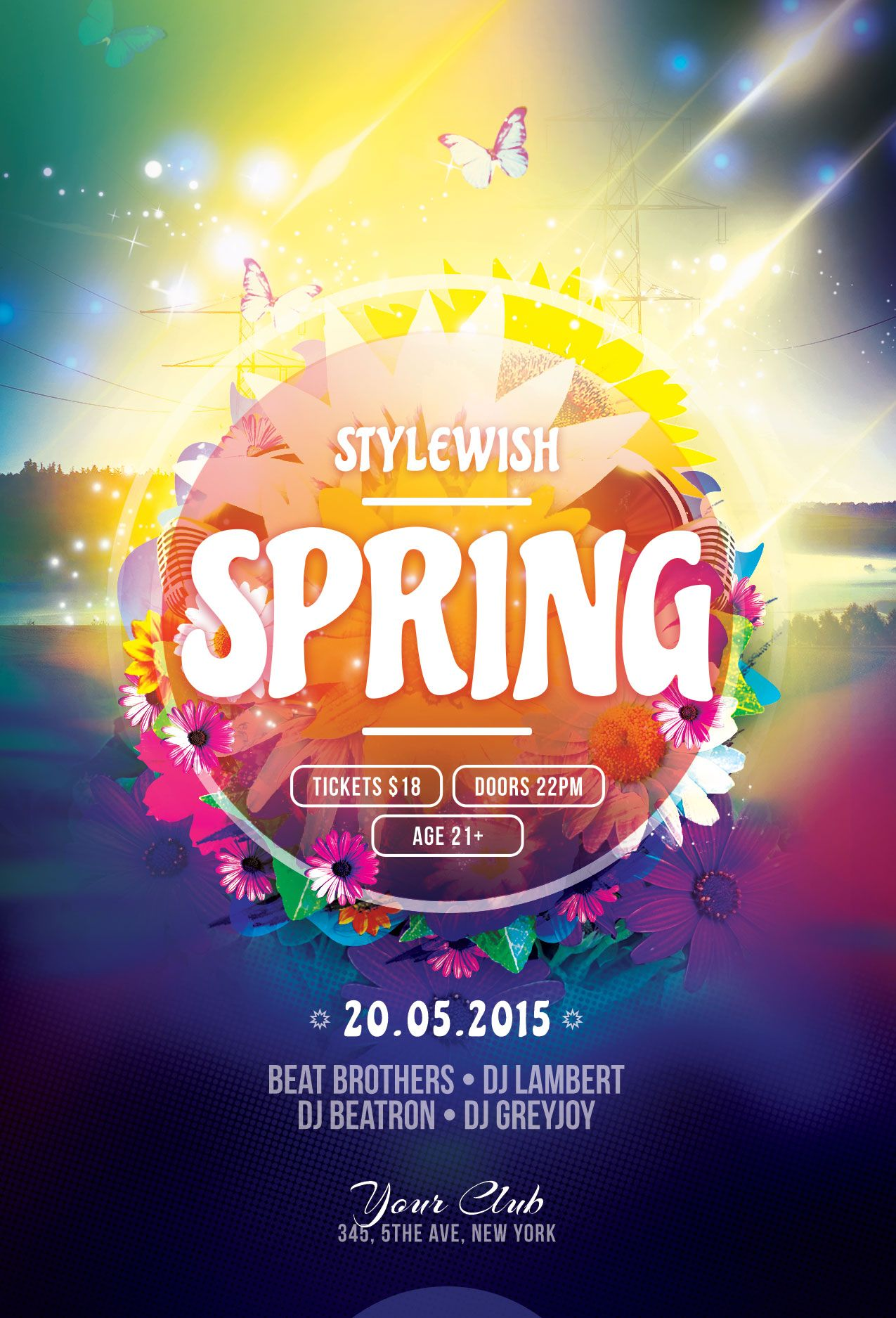 Spring Flyer Template. Download PSD file - $6 | Party poster ...