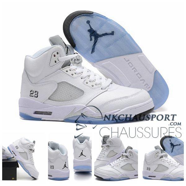 Nike Air Jordan 5 | Classique Chaussure De Basket Homme Blanche-3