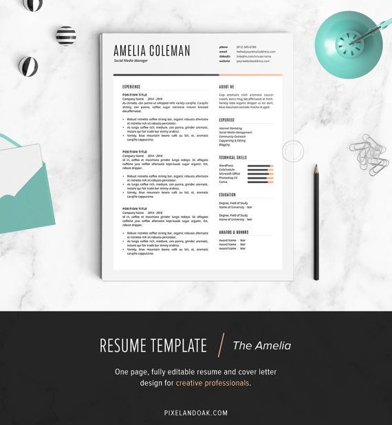 Resume Template, Resume Design, Cover Letter Template (Word, Apple - one page resume template word