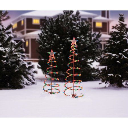 Holiday time 3 and 4 lighted spiral christmas tree sculptures holiday time 3 and 4 lighted spiral christmas tree sculptures multi color aloadofball Images