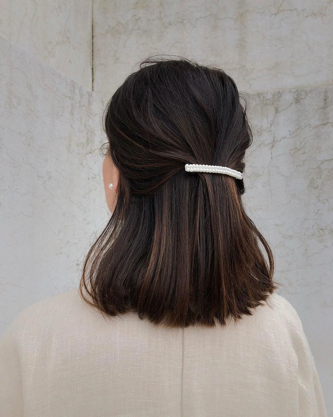 Short Straight Hair Updo Half Up Hairupdos In 2020 Straight Hair Updo Straight Hairstyles Hair Styles