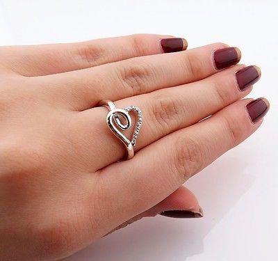 SUN 925 Sterling Silver Open Heart Diamond Ring Size 7 25